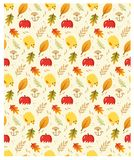 Autumn pattern with leaves, apples and baby chicken. Seamless vector autumn pattern with leaves, apples and baby chicken vector illustration
