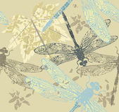 Autumn pattern with maple leaf and dragonfly's Stock Image