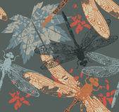 Autumn pattern with maple leaf and dragonfly Royalty Free Stock Image