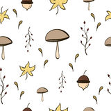 Autumn Pattern. With mushroom and leaves Stock Images