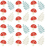 Autumn pattern with mushrooms and leaves. Seamless Autumn pattern with mushrooms and leaves Royalty Free Illustration