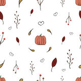 Autumn Pattern. With pumpkin and berries Royalty Free Stock Photos