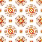Autumn Pattern Rétro texture florale de cercles Vecteur sans couture sur le fond blanc Photographie stock