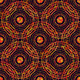 Autumn pattern. Retro circles texture. Vector seamless on black background. Royalty Free Stock Photo