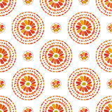 Autumn pattern. Retro floral circles texture. Vector seamless on white background. Stock Photography