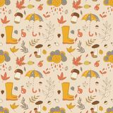 Autumn pattern. Seamless texture with autumn objects. Seasonal texture. Use as a fill pattern Royalty Free Stock Photos