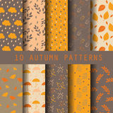 Autumn pattern set. 10 autumn patterns, vector, ndless texture for wallpaper, fill, web page background, texture Stock Photos