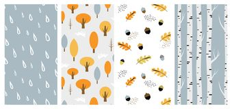 Autumn pattern set. Perfect for wallpaper, gift paper, pattern fills, web page background, autumn greeting cards. fall Stock Image