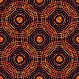 Autumn Pattern Textura retra de los círculos Vector inconsútil en fondo negro Foto de archivo libre de regalías