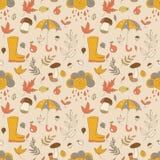 Autumn Pattern Textura sem emenda com objetos do outono Fotos de Stock Royalty Free