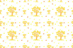 Autumn pattern with trees and yellow leaves Royalty Free Stock Images