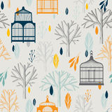 Autumn pattern with vintage birdcages in retro Stock Photo