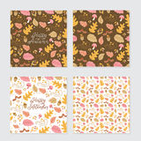 Autumn patterns and lettering. Vector set of autumn greeting cards and backgrounds. Seamless pattern, autumn monoline lettering, autumn elements Royalty Free Stock Image