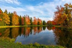 Autumn in Pavlovsky park, Pavlovsk, St. Petersburg, Russia stock photo