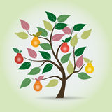 Autumn pear tree in fantasy style. Graphical element. Vector illustration Stock Image