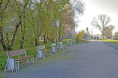 Autumn, pedestrian alley sidewalk with benches, in the city, not far from the road. Russia stock photos