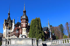Autumn at The Peles Castle, Romania. Neo-Renaissance castle placed in the Carpathian Mountains, near Sinaia, Romania. Built by the King Carol I Royalty Free Stock Images