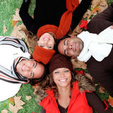 Autumn people. Happy smiling autum group of people Royalty Free Stock Photography