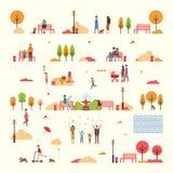 Autumn People Fall Trees Park a isolé le vecteur réglé illustration stock