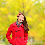 Autumn people - fall woman happy. Autumn people - fall woman smiling happy walking in colorful forest foliage Stock Photography