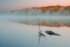 Autumn Pete's Lake in Fog Stock Photo