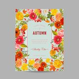 Autumn Photo Frame with Maple Leaves and Flowers. Seasonal Fall Design Card Royalty Free Stock Photography