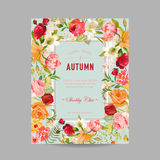 Autumn Photo Frame with Orchid and Lily Flowers. Seasonal Fall Design Card Royalty Free Stock Image