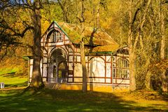 Autumn photo of Rudolf spring pavilion in the small west bohemian spa town Marianske Lazne Marienbad - Czech Republic royalty free stock images