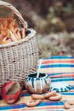 Autumn picnic, apples, basket, bagels, honey royalty free stock photo
