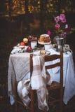 Autumn Picnic mit Kuchen, Tee, Früchte im Garten lizenzfreies stockbild