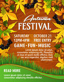Autumn picnic music party festival vector poster Stock Images