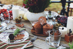 Autumn picnic. In nature with muffins, mulled wine, champignons, food and drinks, beautifully seasoned table, with the family Royalty Free Stock Image