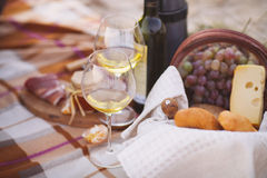 Autumn picnic by the sea with wine, grapes, bread and cheese Royalty Free Stock Image