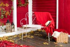 Autumn picnic on the terrace. Veranda of countryside house in autumn season. Stock Photography