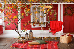 Autumn picnic on the veranda of a country house Stock Photos
