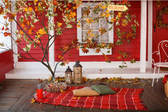 Autumn picnic on the veranda of a country house Royalty Free Stock Photo