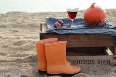 Autumn picnic on the wine box on the beach Royalty Free Stock Photo