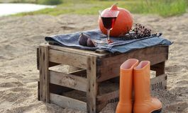Autumn picnic on the wine box on the beach Royalty Free Stock Photos