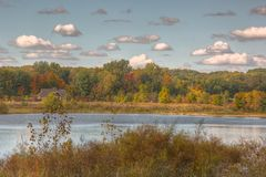 Autumn picture of a pond Royalty Free Stock Images