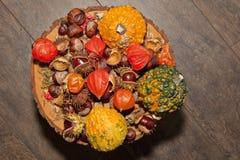 Autumn piece pumpkin chestnut chinese lantern Stock Image