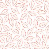 Autumn pink natural background from contours of pink leaves. Seamless decorative eco backdrop. Environmental pattern with floral l. Eaves Stock Illustration