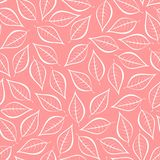 Autumn pink natural background from contours of white leaves. Seamless decorative eco backdrop. Environmental pattern with floral. Leaves vector illustration
