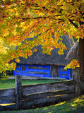 Autumn in Pirogovo. House western Carpathian region of Ukraine. National Museum of Folk Architecture and Life Pyrohovo royalty free stock image