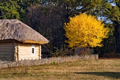 Autumn in Pirogovo. House Western Ukraine region Polesie. National Museum of Folk Architecture and Life Pyrohovo stock photo