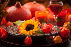 Autumn place setting Royalty Free Stock Photo