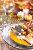 Autumn place setting . Royalty Free Stock Image