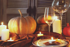 Autumn place setting. Thanksgiving dinner Royalty Free Stock Photo
