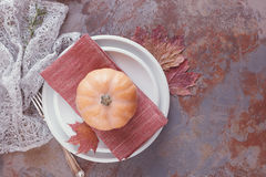 Autumn place settings  Royalty Free Stock Image