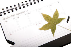 Autumn plan. Autumn schedule planning and the autumn leaves beginning to fall Stock Photo