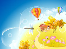 Autumn planet. With dragonfly and balloons Stock Photos